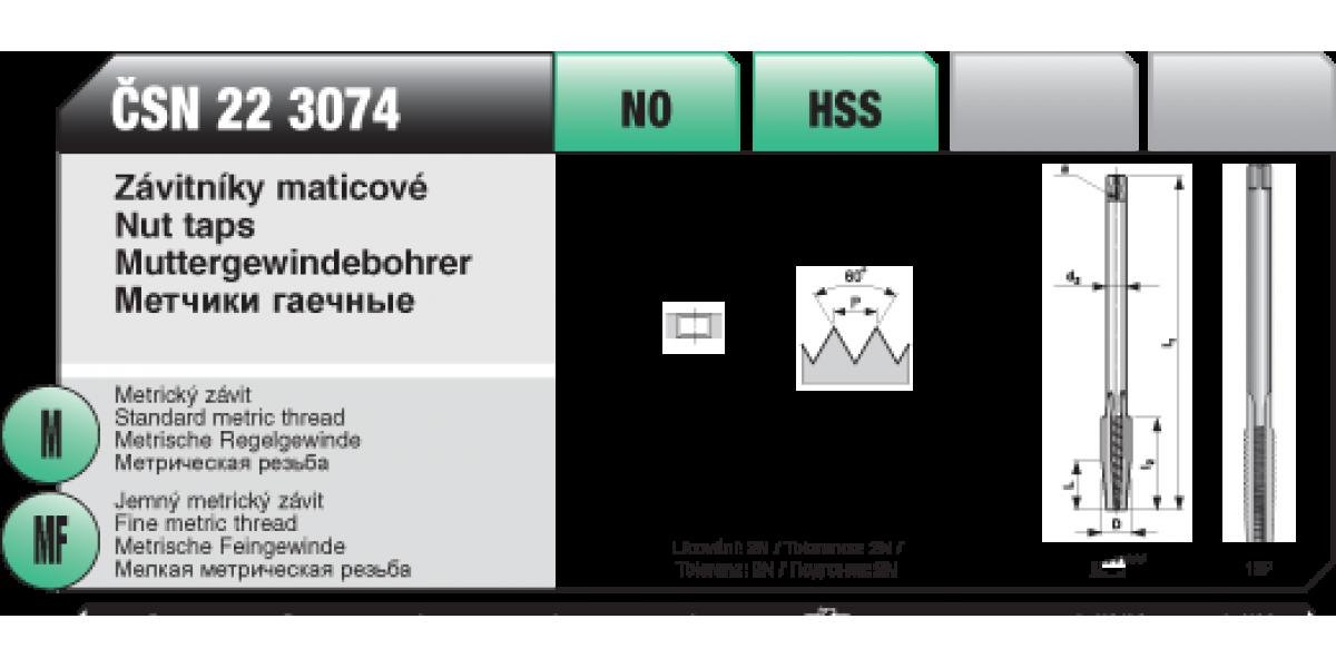 Závitníky maticové [ M 7 x 1 / NO /  ČSN 22 3074]