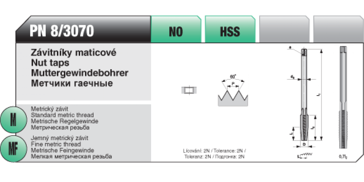 Závitníky maticové [ M 7 x 1 / NO / PN 8/3070 ]