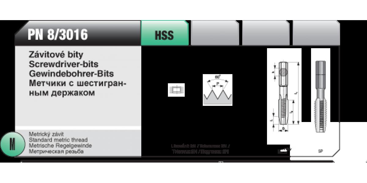 Závitové bity [ M 3 x 0,5 / HSS / PN 8/3016 ]