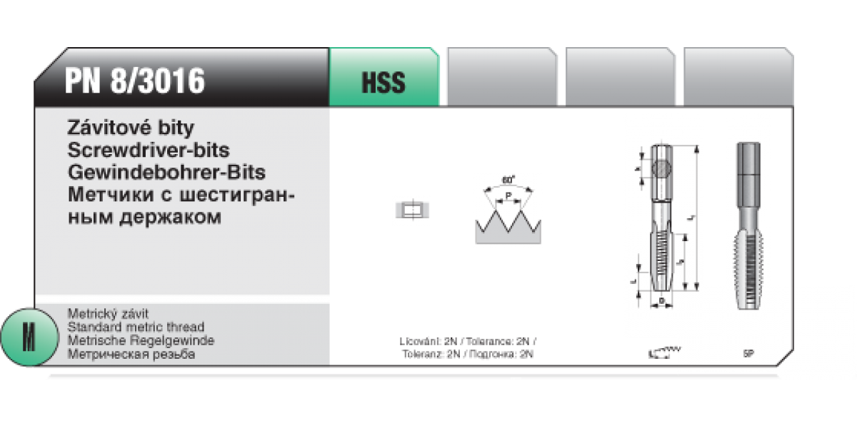 Závitové bity [ M 8 x 1,25 / HSS / PN 8/3016 ]