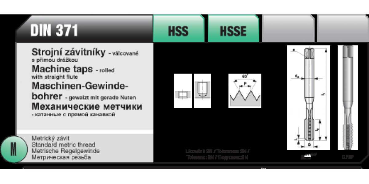 Strojní závitníky - válcované s přímou drážkou [ M 5 x 0,8 / DIN 371 / HSS ]