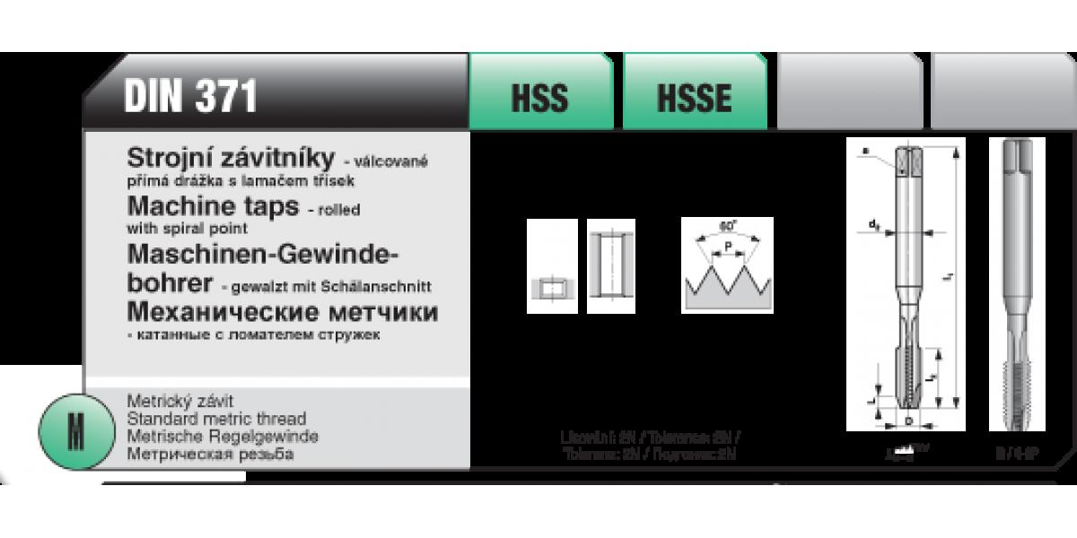 Strojní závitníky - válcované přímá drážka s lamačem třísek [ M 3 x 0,5 / DIN 371 / HSS ]