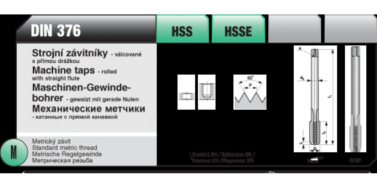 Strojní závitníky - válcované s přímou drážkou [ M 3 x 0,5 / HSSE / DIN 376 ]