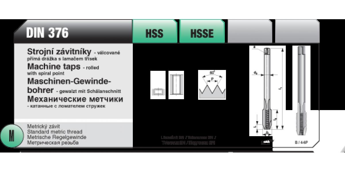 Strojní závitníky - válcované s přímou drážkou [ M 5 x 0,8 / DIN 376 / HSS ]