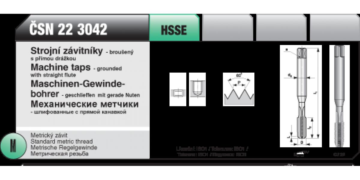 Strojní závitníky - broušený s přímou drážkou [ M 5 x 0,8 / ČSN 22 3042 / HSSE ]