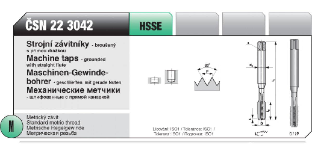 Strojní závitníky - broušený s přímou drážkou [ M 6 x 1 / ČSN 22 3042 / HSSE ]
