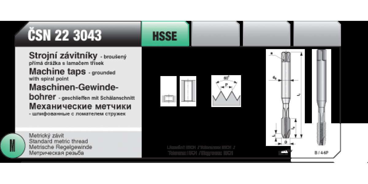Strojní závitníky -broušený přímá s lamaček třísek [ M 3 x 0,5 / ČSN 22 3043 / HSSE ]