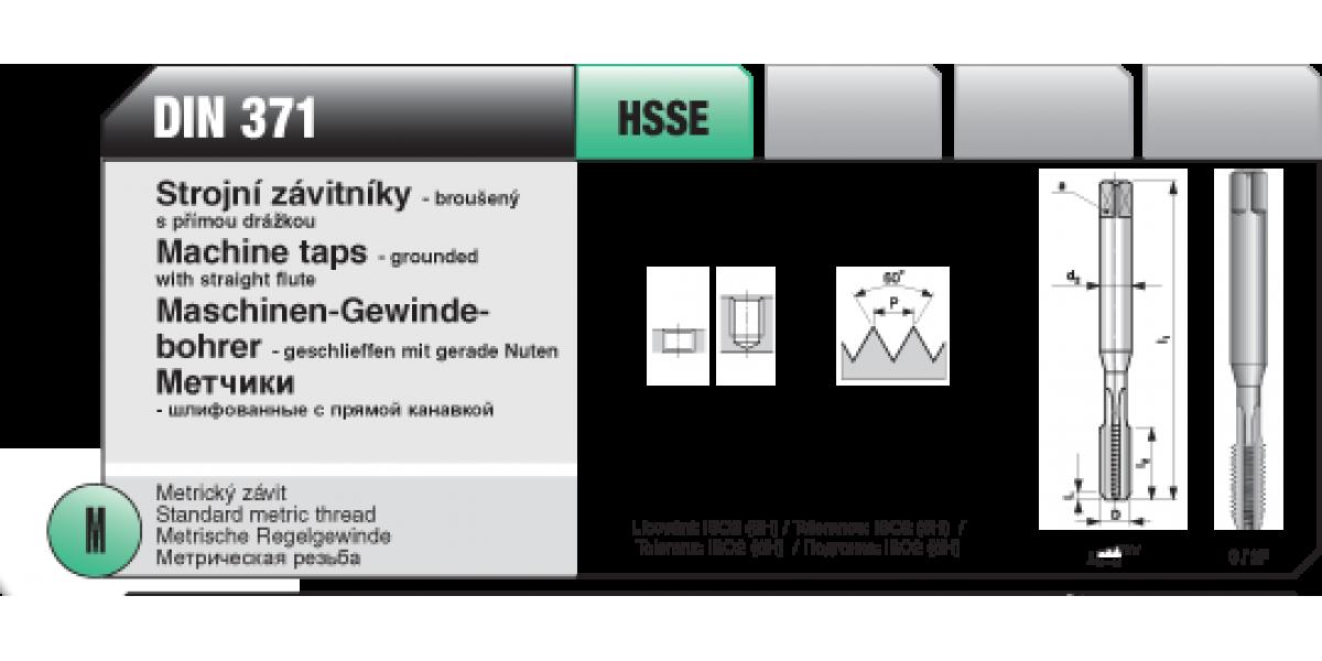 Strojní závitníky - broušený s přímou drážkou [ M 3 x 0,5 / HSSE / DIN 371 ]