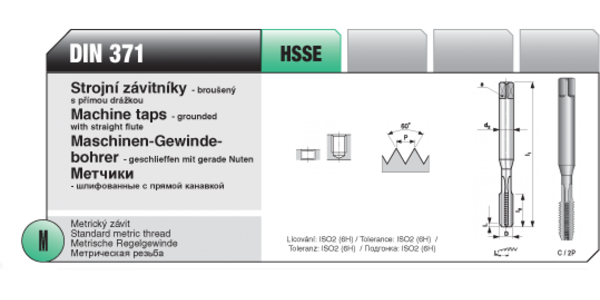 Strojní závitníky - broušený s přímou drážkou [ M 8 x 1,25 / HSSE / DIN 371 ]