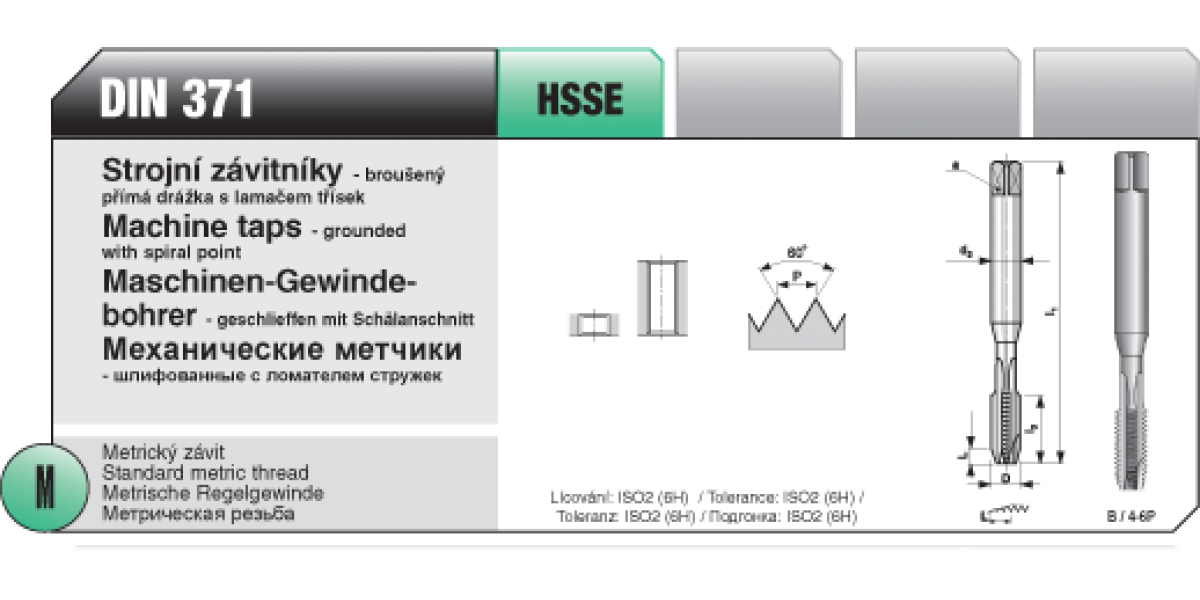 Strojní závitníky -broušený přímá s lamaček třísek [ M 5 x 0,8 / HSSE / DIN 371 ]