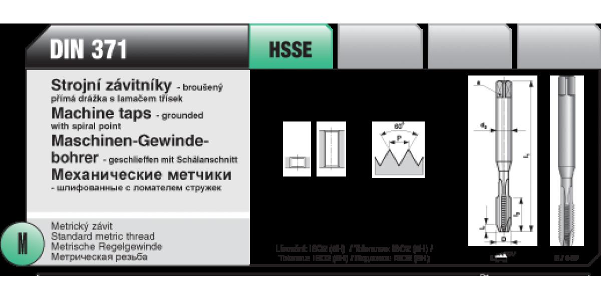 Strojní závitníky -broušený přímá s lamaček třísek [ M 6 x 1 / HSSE / DIN 371 ]
