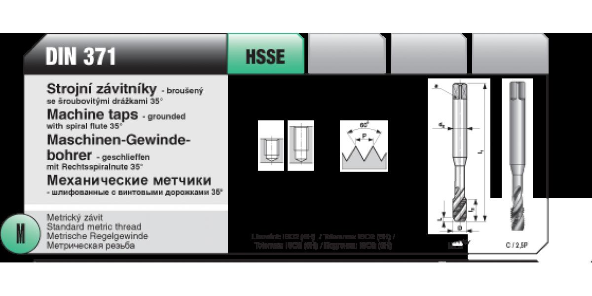 Strojní závitníky -broušený šroubová drážka [ M 5 x 0,8 / HSSE / DIN 371 ]