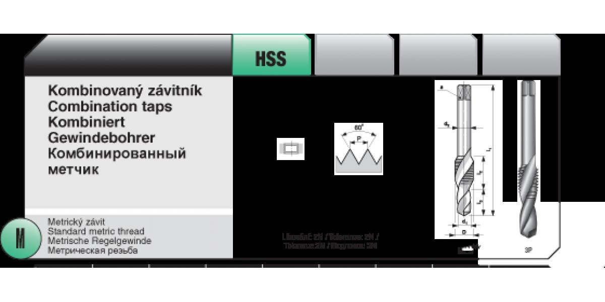 Kombinovaný závitník [ M 8 x 1,25 / HSS ]