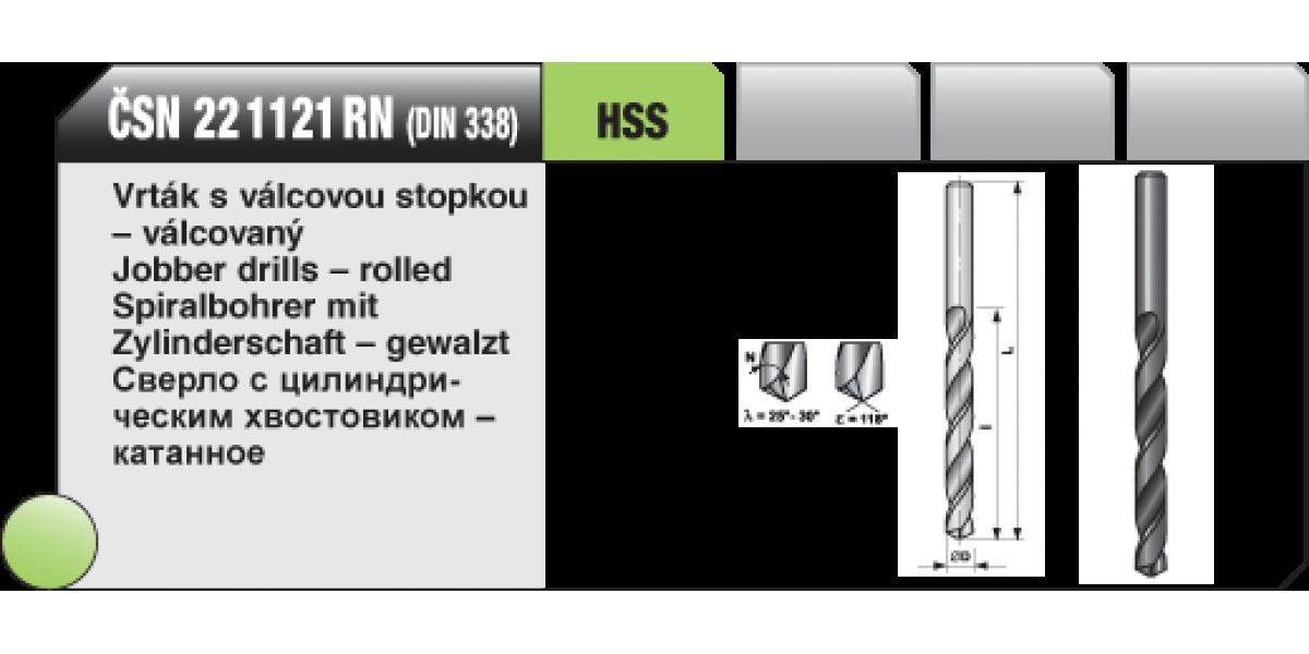 Vrták s válcovou stopkou - válcovaný [ Ø 2,1 / HSS ČSN / 22 1121 RN  ]