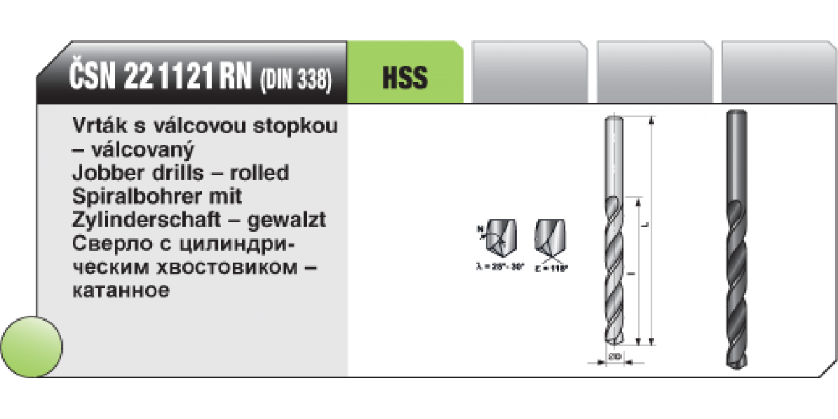 Vrták s válcovou stopkou - válcovaný [ Ø 3,5 / HSS ČSN / 22 1121 RN  ]