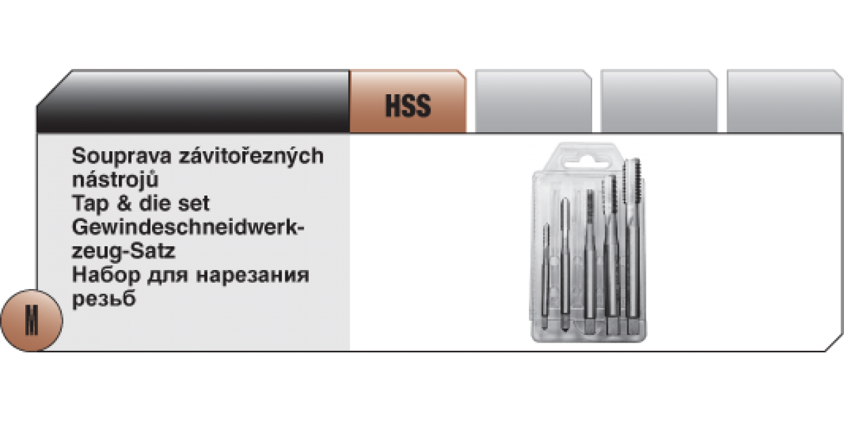 Soupravy závitořezných nástrojů Typ C - 2 HSS [ M 4 - M10  ] přímá drážka