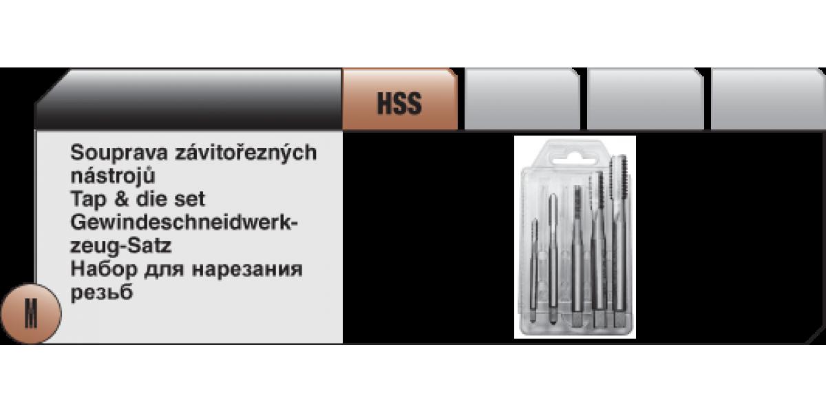 Soupravy závitořezných nástrojů Typ C - 4 HSS [ M4 - M12 ] přímá drážka