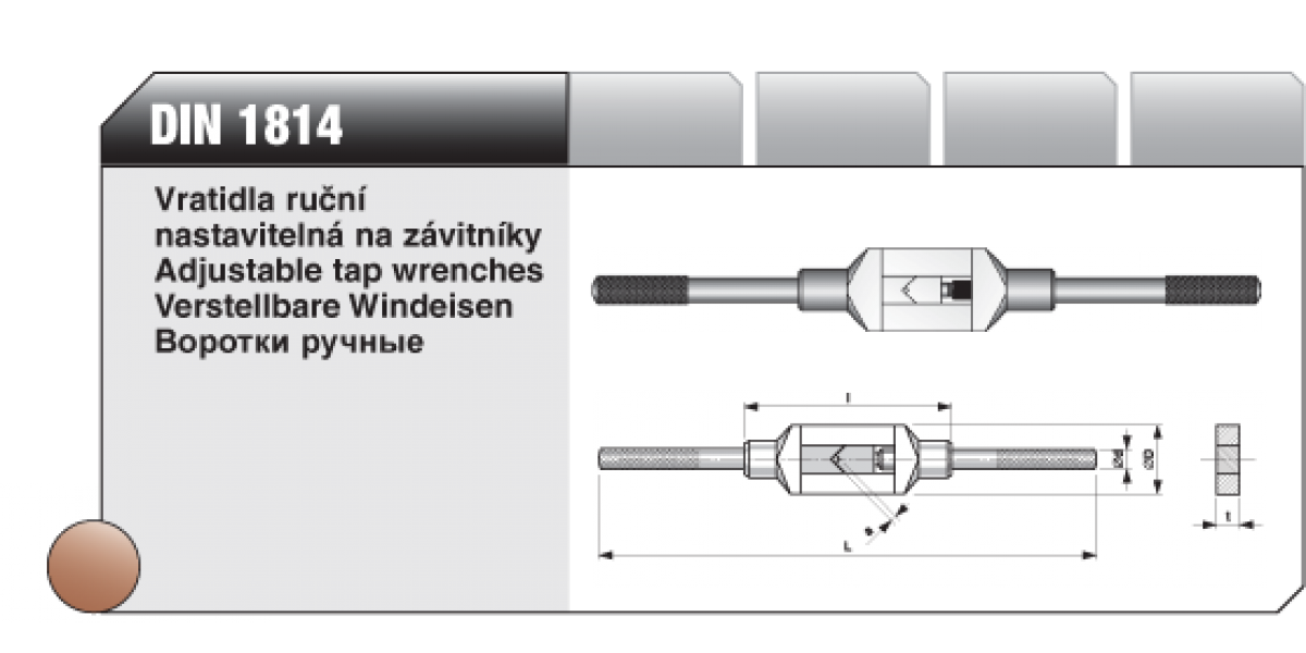Vratidla ruční nastavitelná na závitníky [ DIN 1814 ] č.1 2-6mm