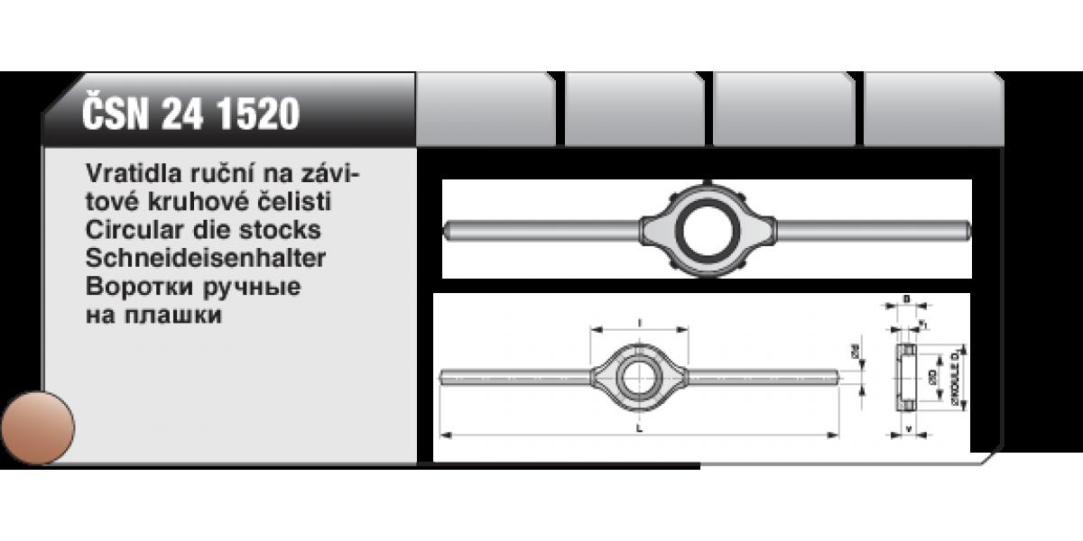 Vratidla ruční na závitové kruhové čelisti [ ČSN 24 1520 ] D-25mm