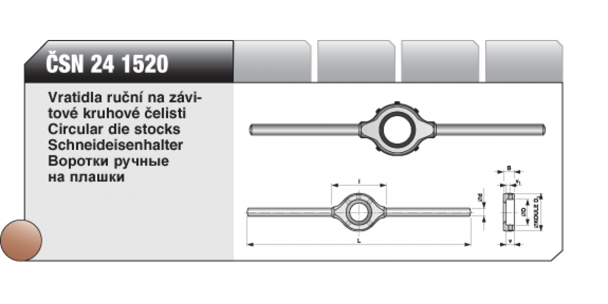 Vratidla ruční na závitové kruhové čelisti [ ČSN 24 1520 ] D - 38mm