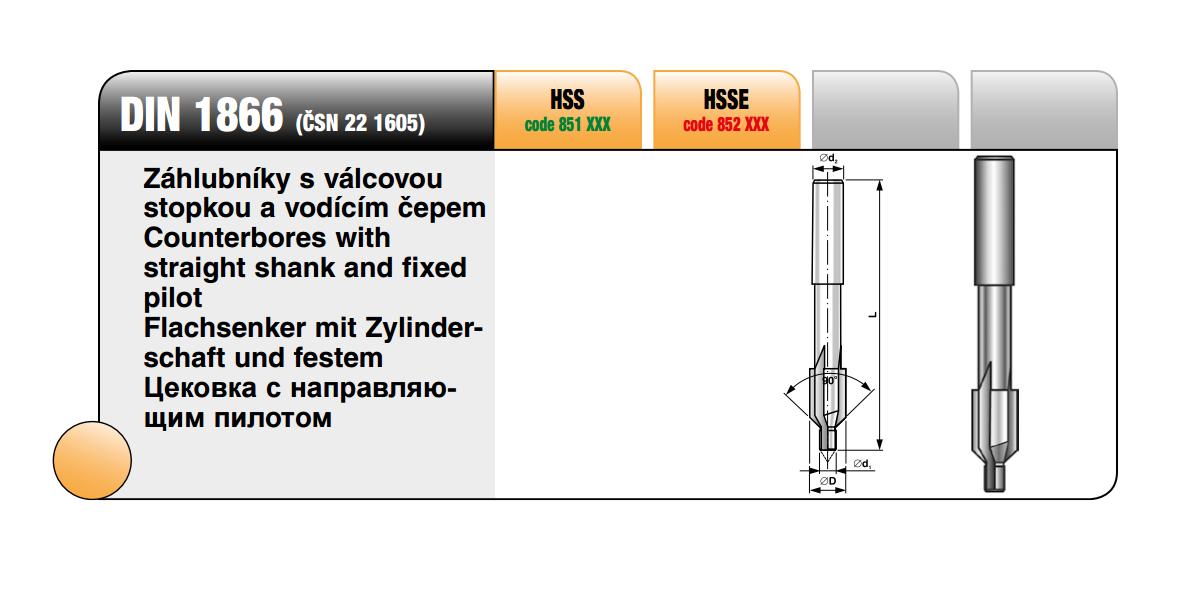 Záhlubník s válcovou stopkou a vodícím čepem [ 5,7 / HSS ]