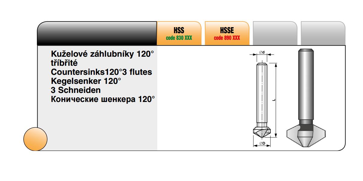 Kuželové záhlubníky 120° tříbřité [ 12,4 / HSS ]
