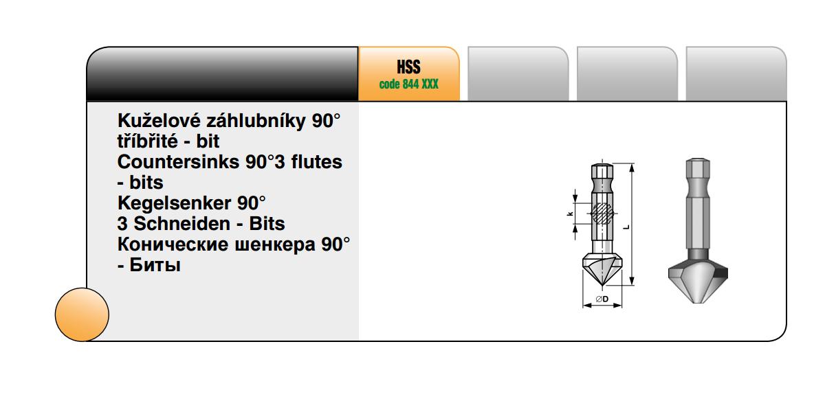 Kuželové záhlubníky tříbřité 90° [ Ø 8,3 / HSS ]