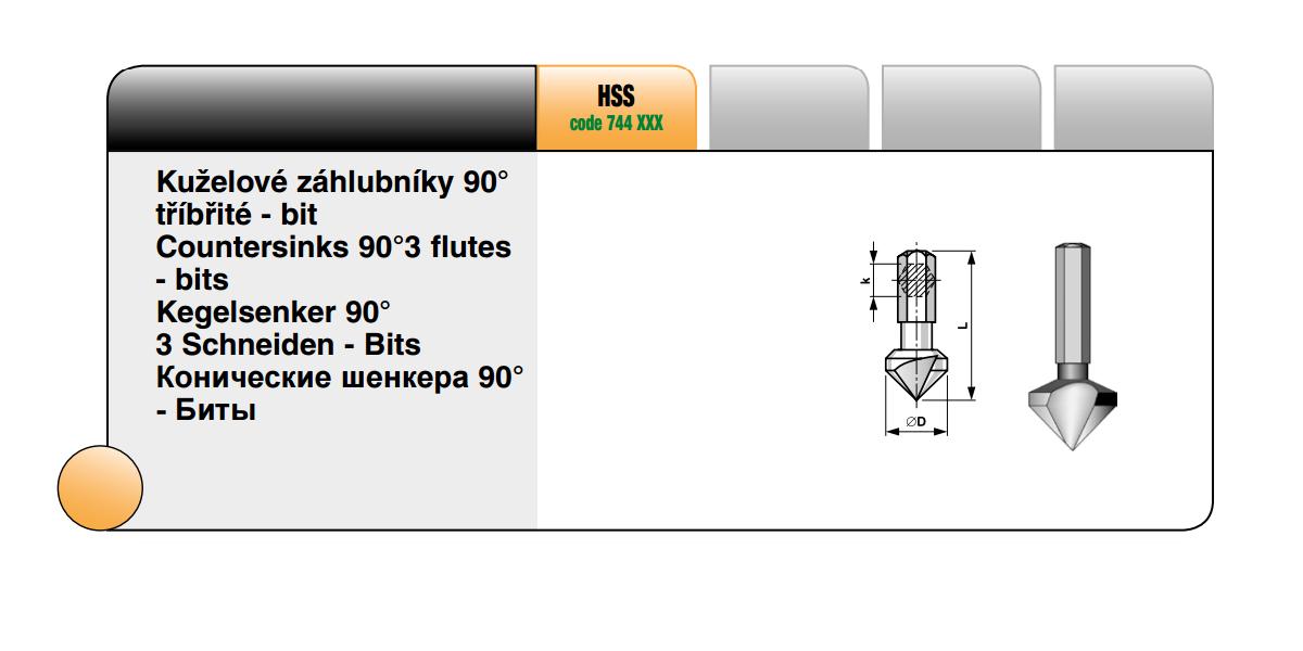 Kuželové záhlubníky tříbřité 90° [ Ø 10,4 / HSS ]