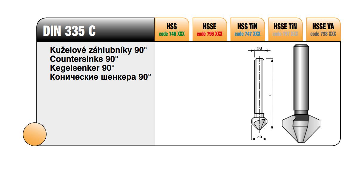 Kuželové záhlubníky 90° [ Ø 6,3 / HSS TiN ]