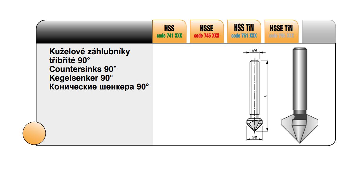 Kuželové záhlubníky tříbřité 90° [ Ø 12 / HSS TiN ]