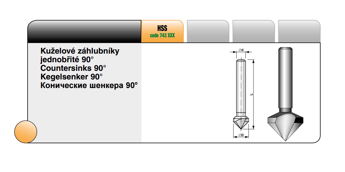 Kuželové záhlubníky jednobřité 90° [ Ø 16 / HSS ]