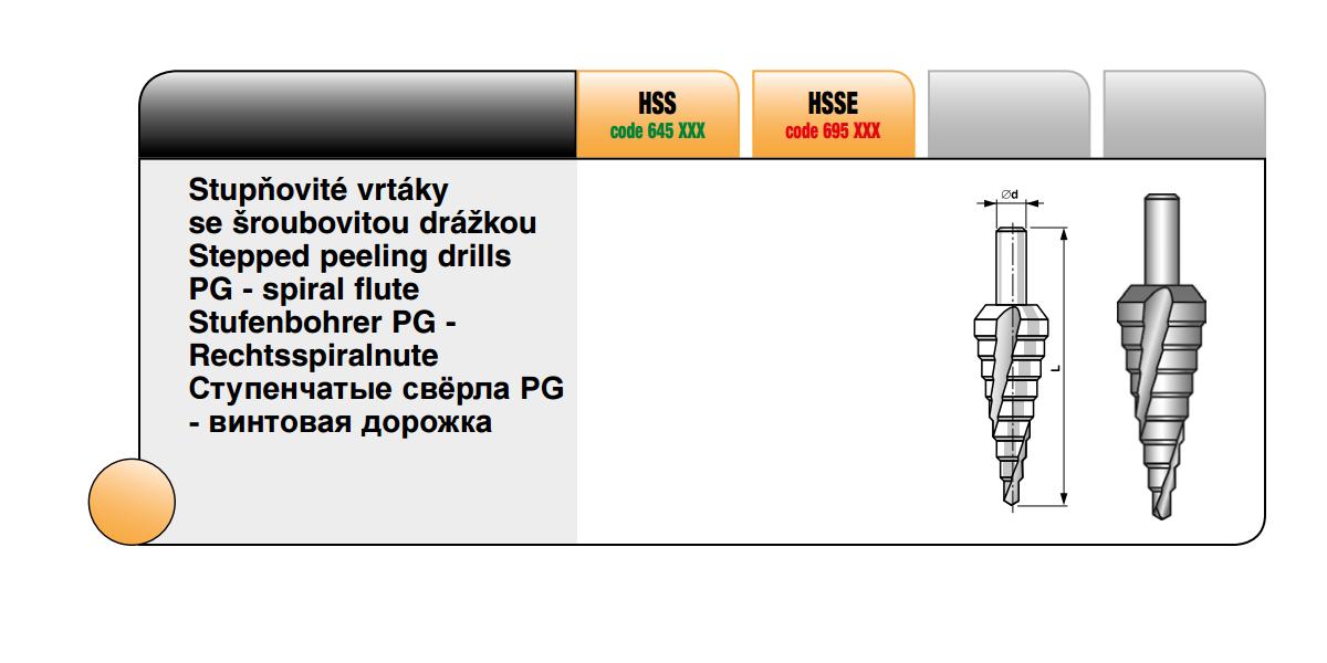 Stupňovité vrtáky se šroubovitou drážkou [ PG 3 / HSSE ]