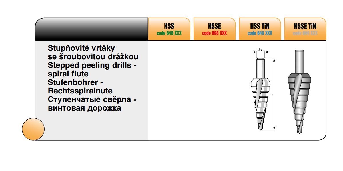 Stupňovité vrtáky se šroubovitou drážkou [ Ø  4/12-1 (č. 0/9) / HSSE TiN ]