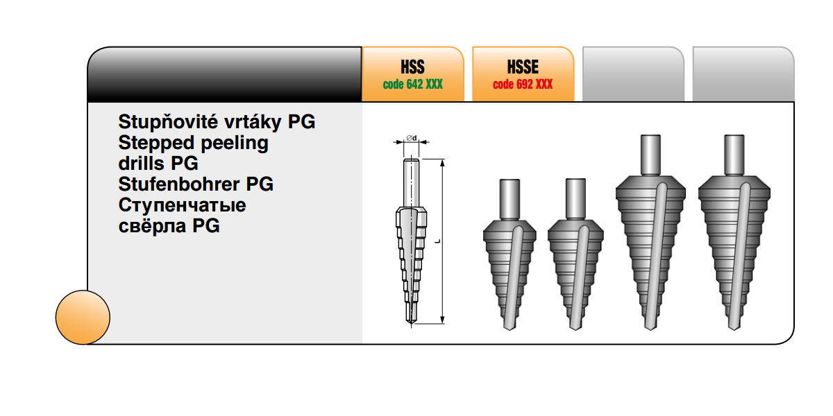 Stupňovité vrtáky PG [ PG 1 / HSS ]