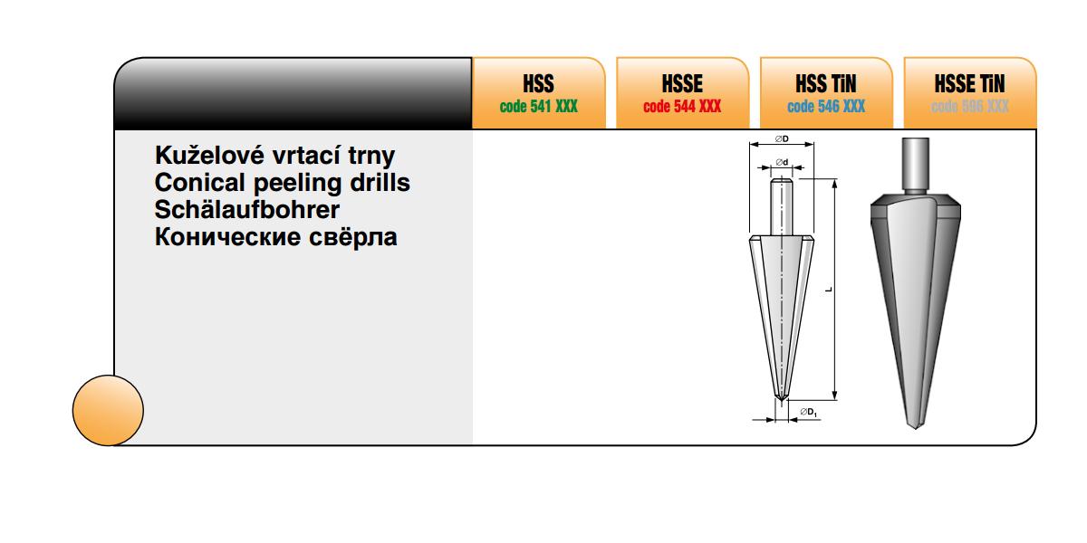 Sady kuželových vrtacích trnů [Typ K 1 HSS ]