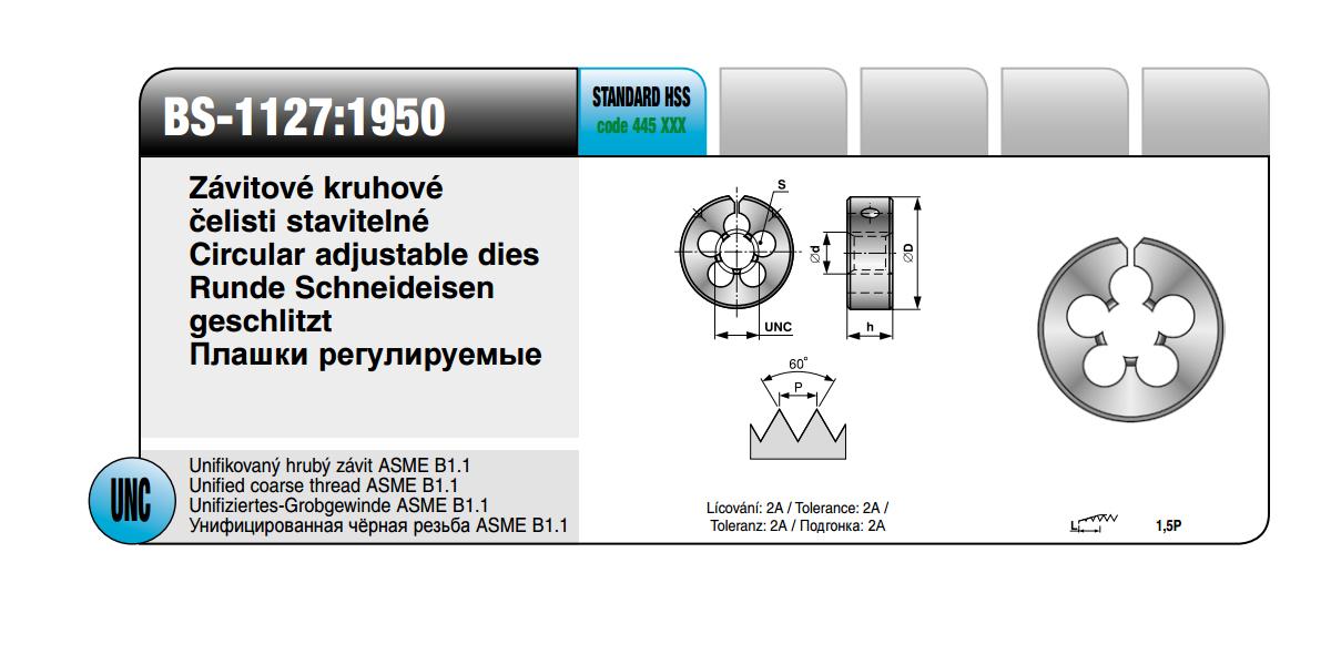 Závitové kruhové čelisti stavitelné [ UNC 1 1x 6 /2 / BS-1127:1950 / HSS ]