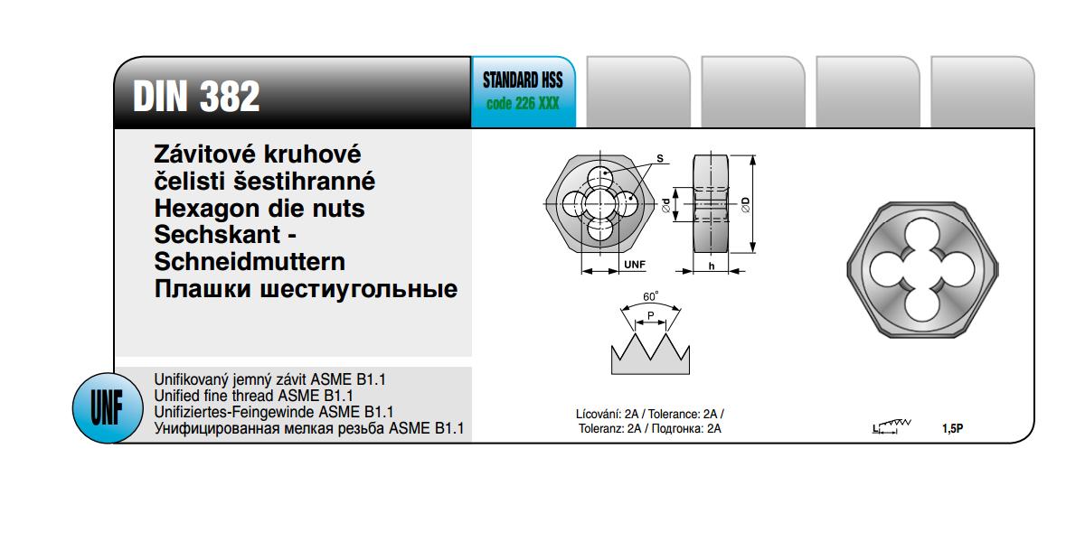 Závitové kruhové čelisti šestihrané [ UNF 1/4 x 28 / DIN 382 / HSS ]