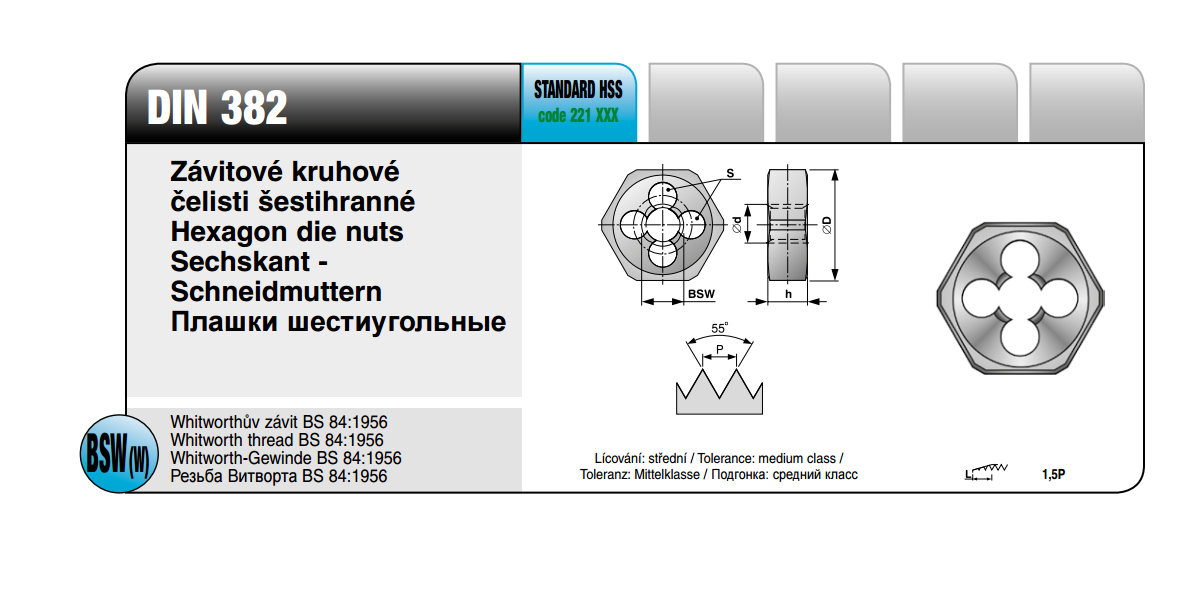 Závitové kruhové čelisti šestihrané [ BSW 3/16 x 24 / DIN 382 / HSS