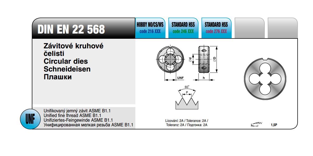 Závitové kruhové čelisti [ UNF 1/4 x 28 /  HSS / DIN EN  22 568 ]