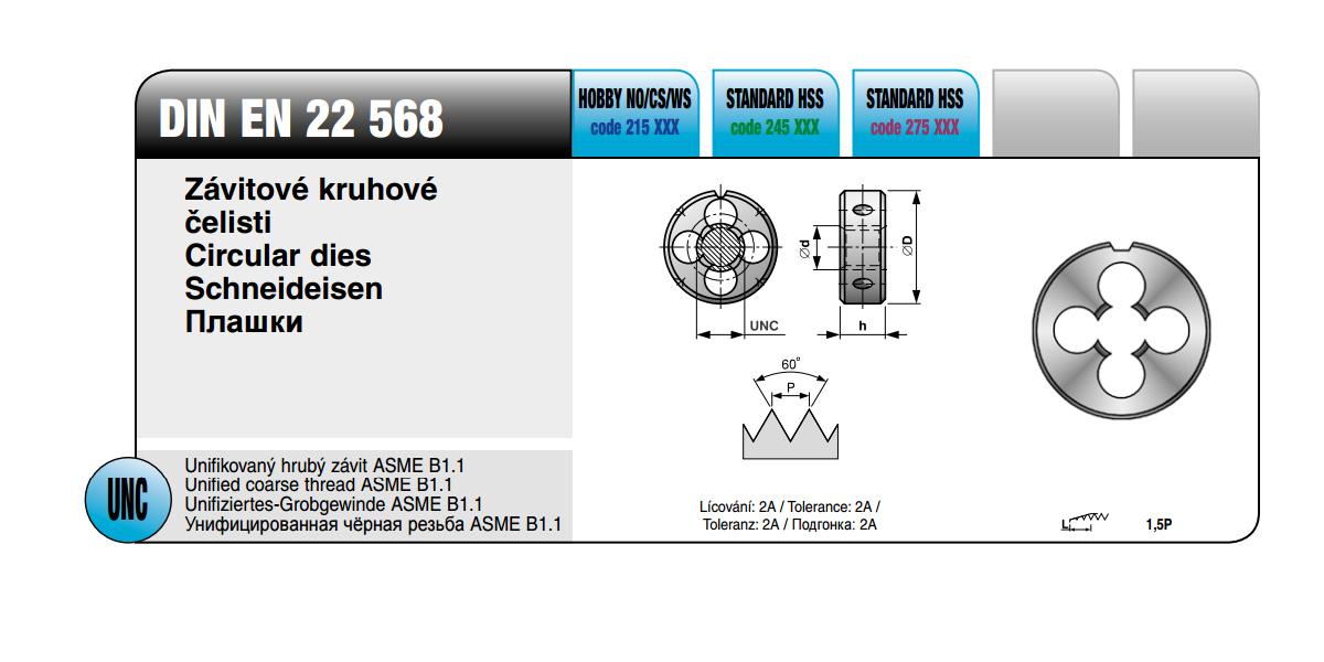 Závitové kruhové čelisti [ UNC 12 x 24 /  NO / DIN EN  22 568 ]