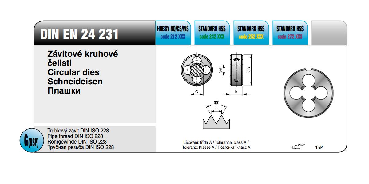 Závitové kruhové čelisti [G 1/4 x 19 / NO / DIN 24231