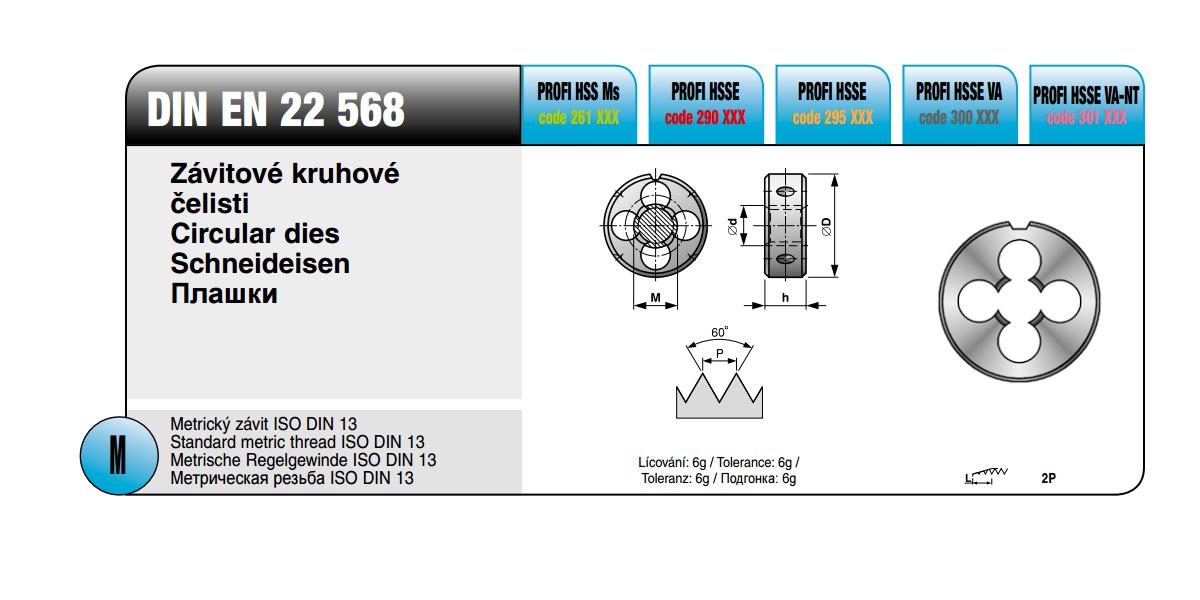 Závitové kruhové čelisti [ M 3,5 x 0,6 / HSSE VA-NT na nerez / DIN EN 22 568]